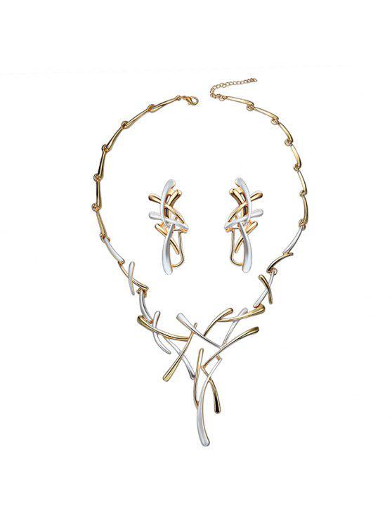 Collier en Chaîne en Forme de Branche et Boucles d'Oreilles Clip - Blanc