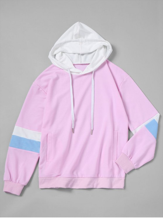 unique Drawstring Color Block Oversized Hoodie - PINKISH PURPLE S