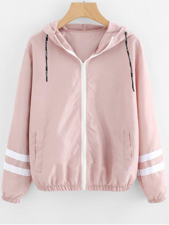 best Zip Up Contrast Ribbons Trim Jacket - PINK S