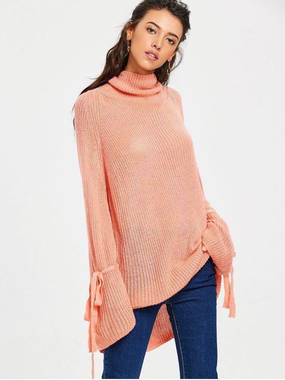 fancy Oversized Turtleneck Chunky Knit Sweater - ORANGEPINK ONE SIZE