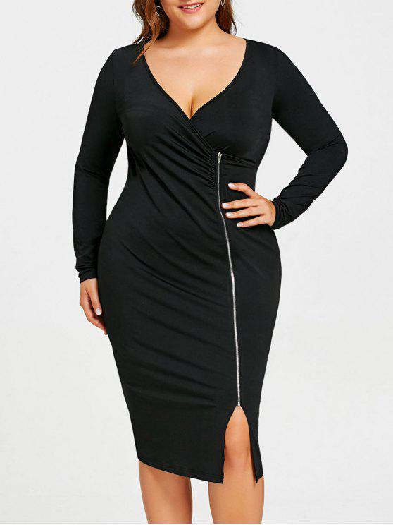Plus Size Zip Front Long Sleeve Dress