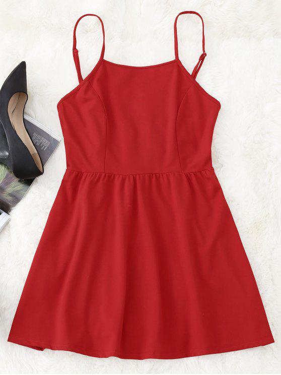 women's Open Back Mini Cami Dress - RED L