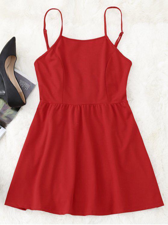 فستان كامي مصغر مفتوحة الظهر - أحمر XL