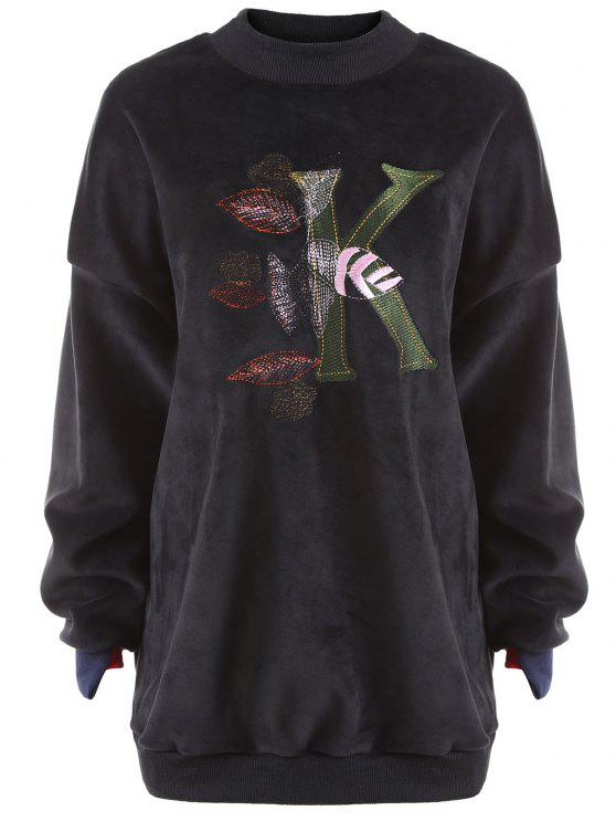 lady Plus Size Letter Embroidered  Fleece Sweatshirt - BLACK 2XL