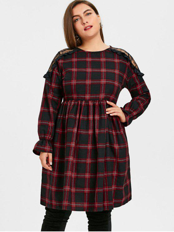 new Plus Size Plaid Lace Panel Smocked Dress - PLAID 3XL