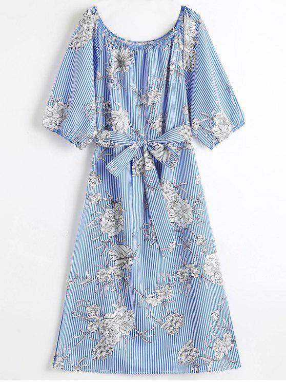 فستان ميدي مخطط بلا اكتاف طباعة الأزهار - أزرق M