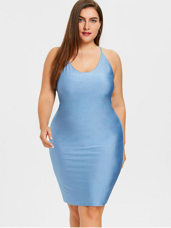 35 Off 2018 Cami Plus Size Bodycon Dress In Blue 3xl Zaful
