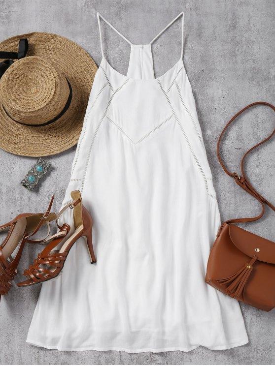 chic Back Zip Slip Sheer Mini Dress - WHITE S