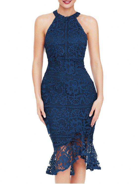 فستان دانتيل بلا أكمام - أزرق S