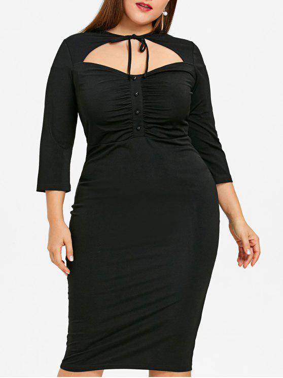 زائد حجم قطع عالية مخصر بوديكون اللباس - أسود 5XL