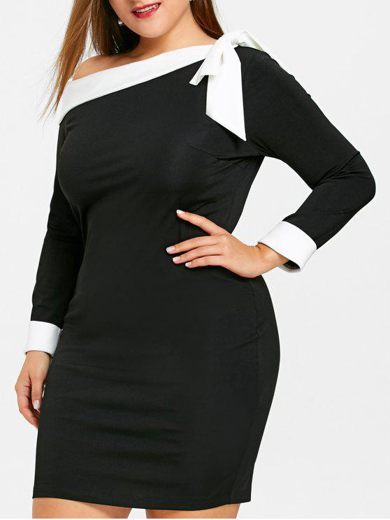 بونوت الرقبة الرقبة بالاضافة الى حجم اللباس بوديكون - أسود 5XL