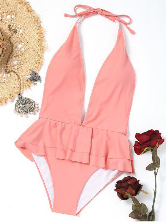 fashion Ruffles Plunging Neck Peplum Swimwear - PINK S