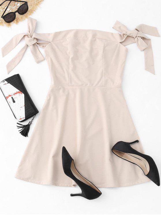 latest Off The Shoulder Bowknot Mini Dress - APRICOT S