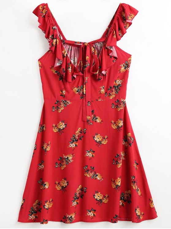 latest Ruffles Floral Beach Dress - RED L