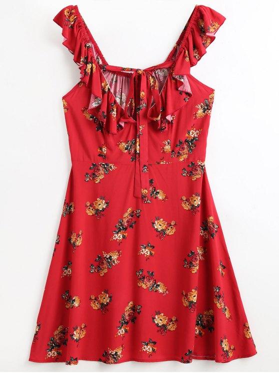 Robe de Plage à Volants Motif Floral - Rouge S