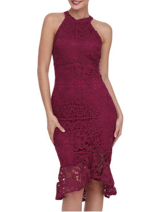 فستان دانتيل بلا أكمام - نبيذ أحمر M