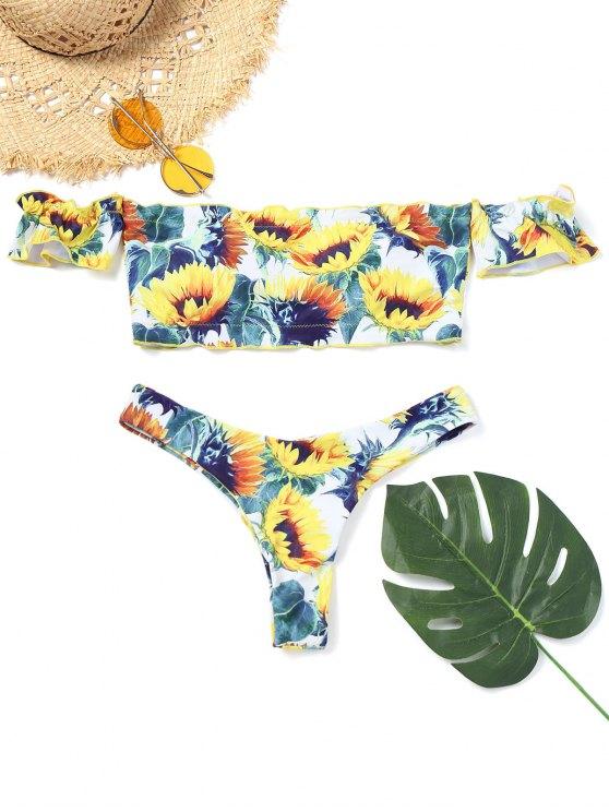 Bikini de tanga estampado con estampado de girasol - Floral S