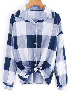 Button Up Bowknot Saum Kariertes Hemd - Cadetblue
