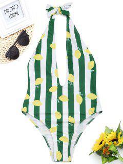 Zitronengestreifter Hoch Geschnittener Badeanzug - Weiß Und Grün S