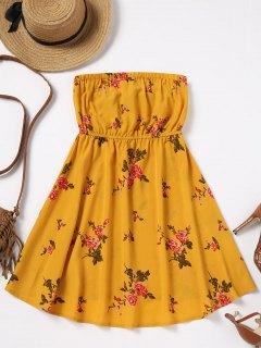 Strand-Blumenschlauch-Kleid - Ingwer-gelb S