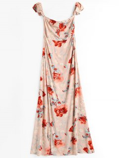 Off Shoulder Slit Floral Maxi Beach Dress - Floral S