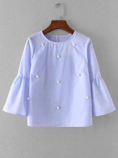 Flare Sleeve Beading Blouse - Windsor Blue M