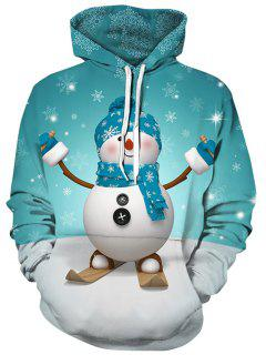 3D Snowman And Snowflake Print Pullover Hoodie - Blue Green M