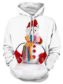3D Snowman Print Pullover Hoodie - White L