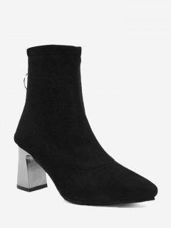 Zipper Block Heel Pointed Toe Boots - Black 38