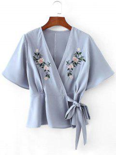 Floral Patched Plunging Neck Wrap Blouse - Light Blue L