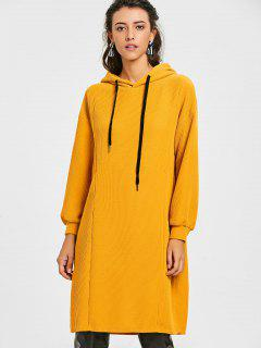 Side Slit Longline Drawstring Hoodie - Earthy M