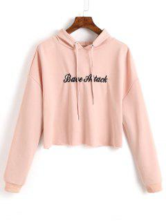 Crop Letter Embroidered Hoodie - Shallow Pink L