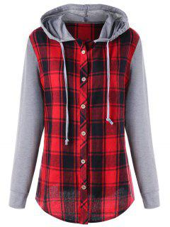 Plus Size Hooded Plaid Panel Long Sleeve Top - 5xl