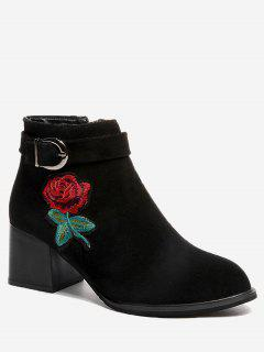 Buckle Embellished Flower Embroidered Ankle Boots - Black 36