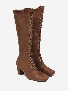 Block Heel Lace Up Knee High Boots - Brown 39