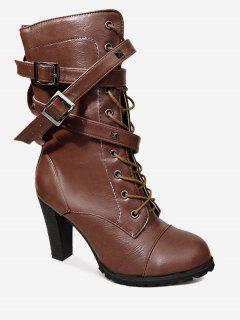 Studded Chunky Heel Mid-calf Combat Boots - Deep Brown 38