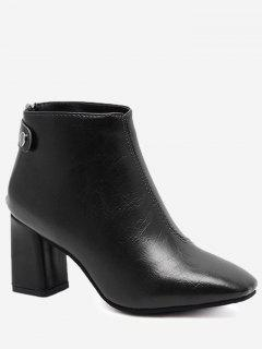 Block Heel Square Toe Stitching Ankle Boots - Black 39