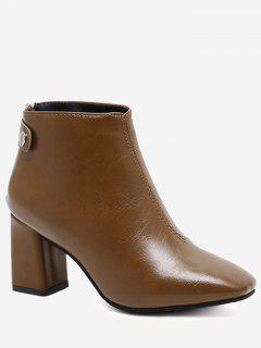 Block Heel Square Toe Stitching Ankle Boots - Brown 39