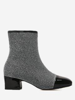 Sequined Cloth Square Toe Side Zip Boots - Gray 37