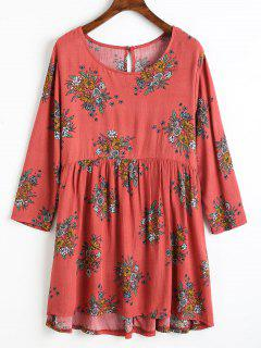 Floral Print High Low Blouse - Light Red L