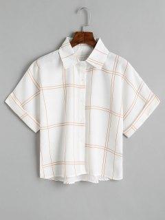 Camisa A Cuadros Con Botones Sueltos - Café Marrón