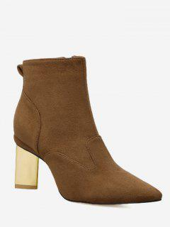 Pointed Toe Side Zipper Mid Heel Boots - Light Brown 39