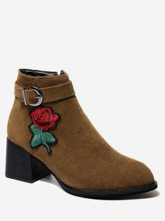 Buckle Embellished Flower Embroidered Ankle Boots - Brown 39