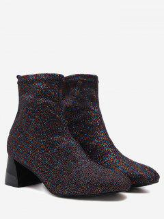 Chunky Heel Stretch Cloth Ankle Boots - Purple 37