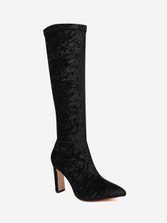 Stiletto Heel Velour Knee High Boots - Black 39