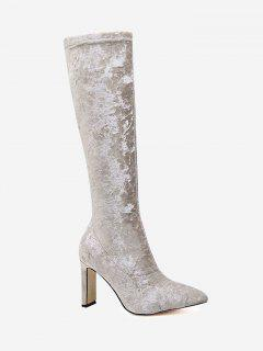 Stiletto Heel Velour Knee High Boots - Apricot 39
