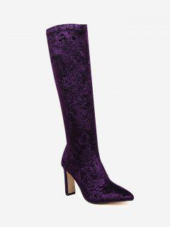 Stiletto Heel Velour Knee High Boots - Purple 39