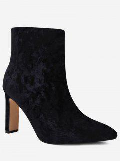 Pointed Toe Stretch Velvet Ankle Boots - Black 39