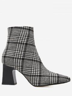 Houndstooth Plaid Chunky Heel Ankle Boots - Black 38