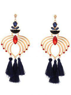 Vintage Faux Crystal Heart Tassel Earrings
